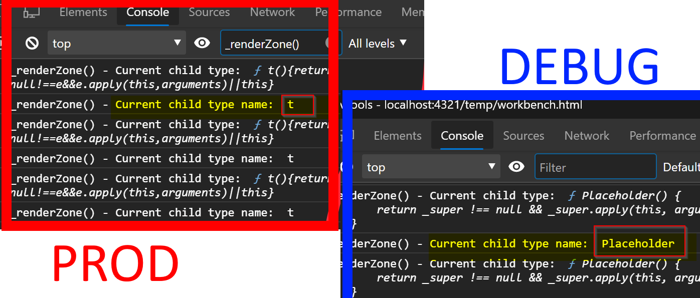 SPFx/React DEBUG vs PRODUCTION builds